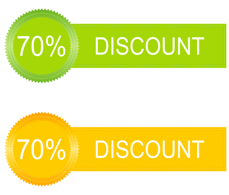 discount buttons: 70 percent discount buttons set in orange and green