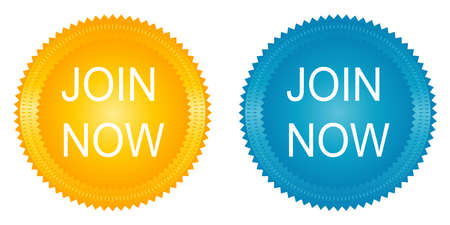 join now: Join now stickers on the white background Stock Photo