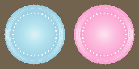 wax glossy: Vector blank seals set in blue and pink.