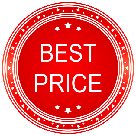 choke: Red best price star button. Vector image.