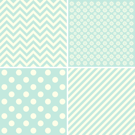 giftwrap: Vector set of 4 background patterns. Great for greeting cards, baby cards, baby shower.