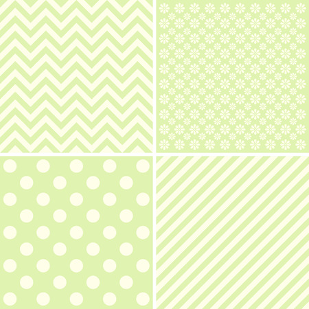 giftwrap: Vector set of 4 background patterns in pale green. Illustration