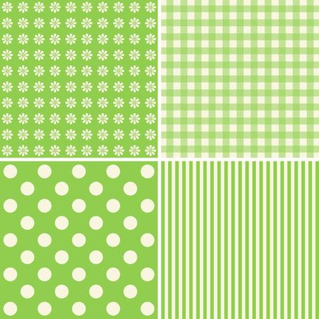 giftwrap: Set of 4 background patterns in green tones. Illustration