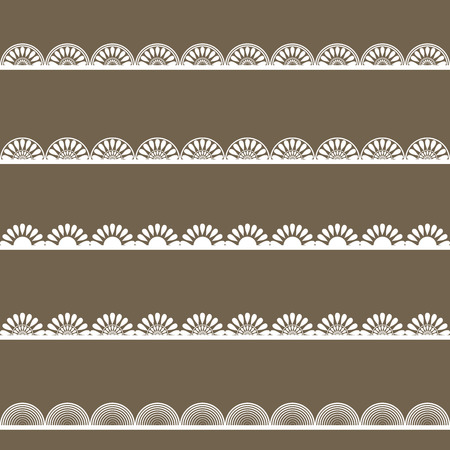 decorative border: Set of white lace borders on dark grey background