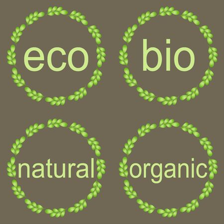 natural products: Leaf frames, labels and stickers. Round frames with green leaves