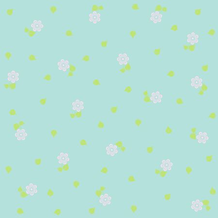 tiny: tiny floral pattern on blue background, Vector image.