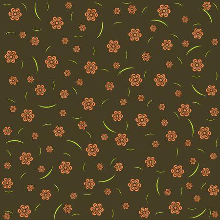 Vintage floral pattern on dark background. Cute flowers. 版權商用圖片