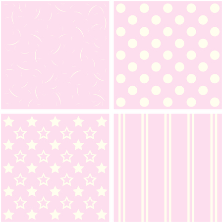 giftwrap: Vector set of 4 background patterns in pale pink.