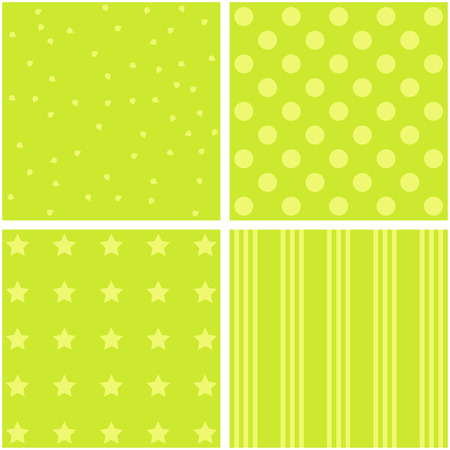 giftwrap: Vector set of 4 background patterns in green.