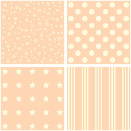 giftwrap: Vector set of 4 retro background patterns in pastel tones.