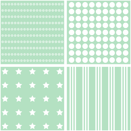 giftwrap: Vector set of 4 retro background patterns in green tones.