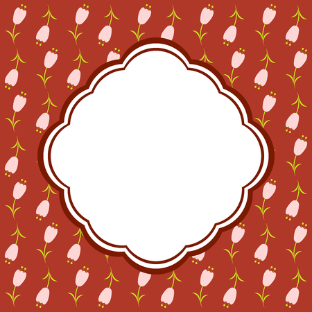 wed beauty: Elegant floral card in red colors. Vector.
