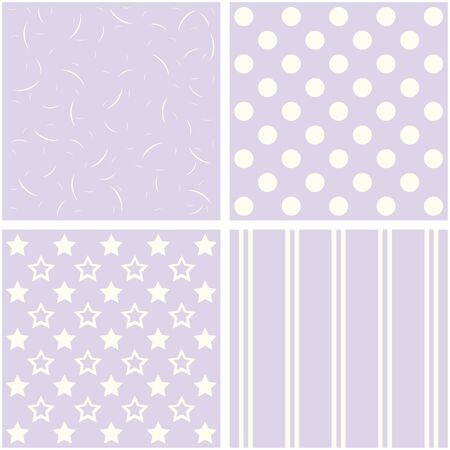 giftwrap: Set of 4 background patterns in pale lilac. Stock Photo