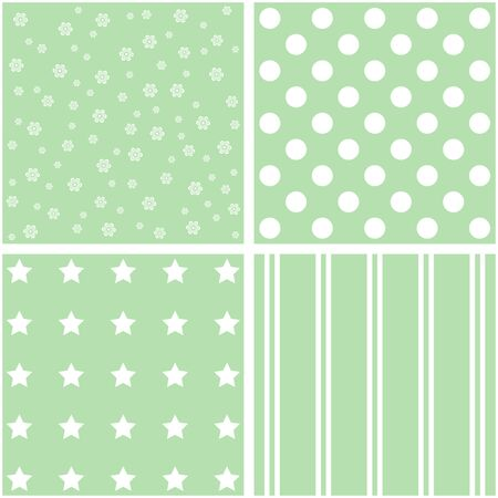 giftwrap: Abstract set of 4 background patterns in green.