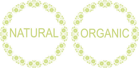 approvement: Set of frames with green leaves for natural and organic theme