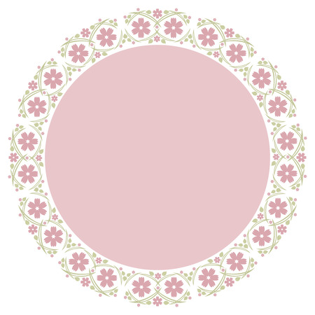 pink vintage: Floral Frame for wedding invitations and birthday cards