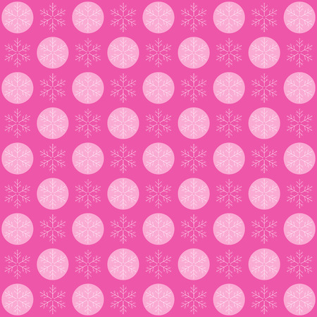 Winter Snow Flakes Background Pattern in pink Color. Vector Illustration