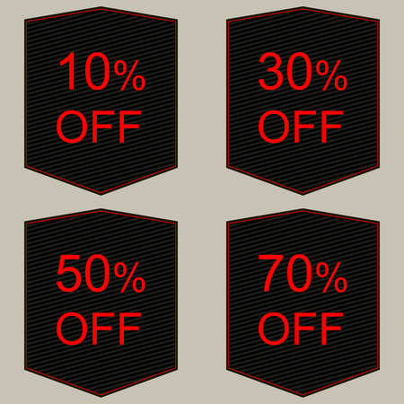 pricetag: Discount price tags in black and red.
