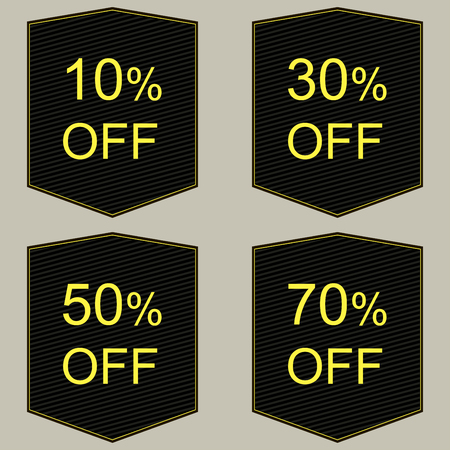 sell out: Discount price tags in black and red.