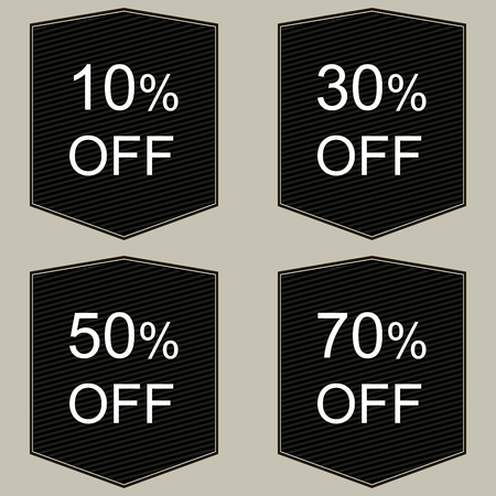 pricetag: Discount price tags in black and white. Illustration