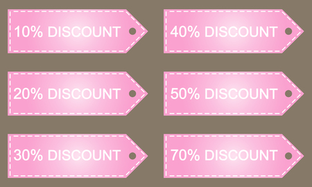 sell out: Discount price tags. Vector. Image in pink tones