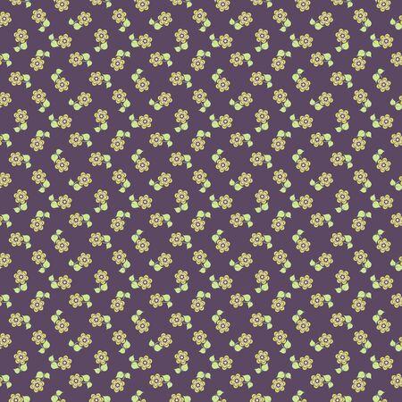 tiny: tiny floral pattern on grey background. Vector.