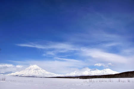 Winter background with blue sky in Russia.
