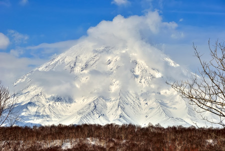 Volcanic landscape of Kamchatka: winter view of Volcano.