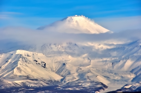 stratovolcano: Volcanic landscape of Kamchatka: winter view of Volcano.