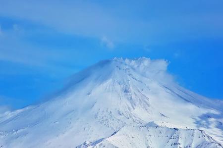 kamchatka: Beautiful winter volcanic landscape of Kamchatka Peninsula Stock Photo