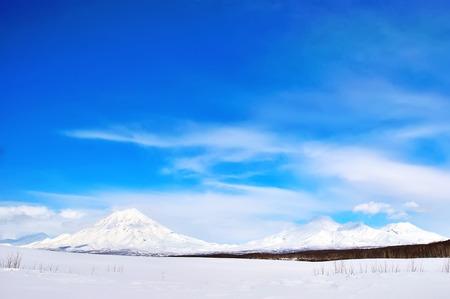 effusion: Beautiful winter volcanic landscape of Kamchatka Peninsula Stock Photo