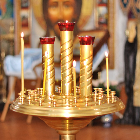 Orthodox church, candlesticks in the church closeup