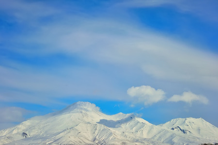 kamchatka: Volcano with snow in winter day in Russia on Kamchatka Stock Photo