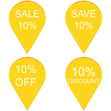 Collection of sale 10 percent discount labels Illustration