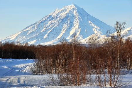 Beautiful winter volcanic landscape of Kamchatka Peninsula Stock Photo