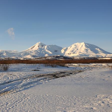 effusion: Beautiful winter volcanic landscape of Kamchatka Peninsula, Russia.