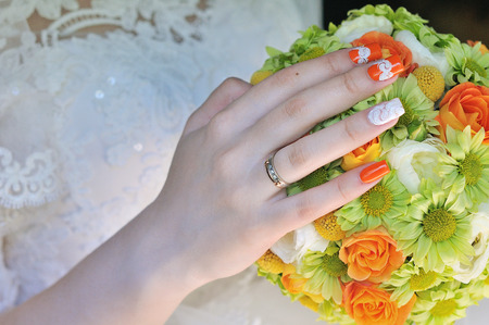 A wedding ring on the finger of the bride.