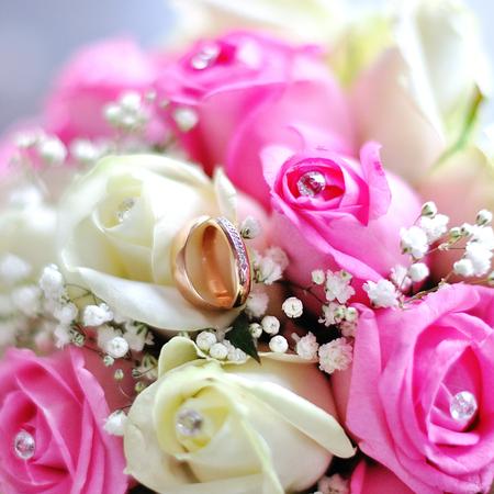 Mooi bruidsboeket. Foto in huwelijksdag Stockfoto - 92806860