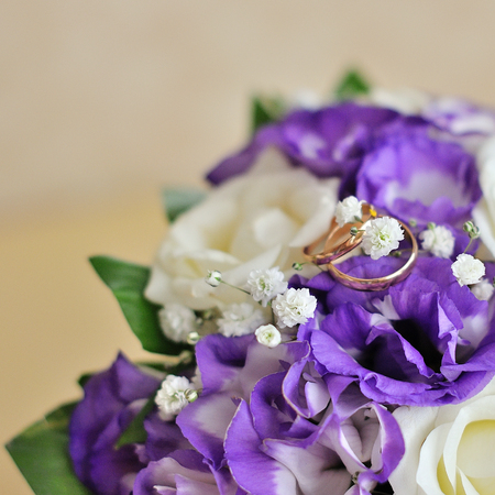 Close up on wedding flowers, bridal bouquet.