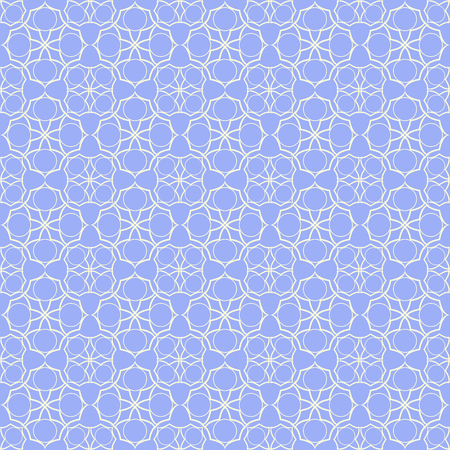Blue qua-trefoil lattice pattern. Seamless vector background.