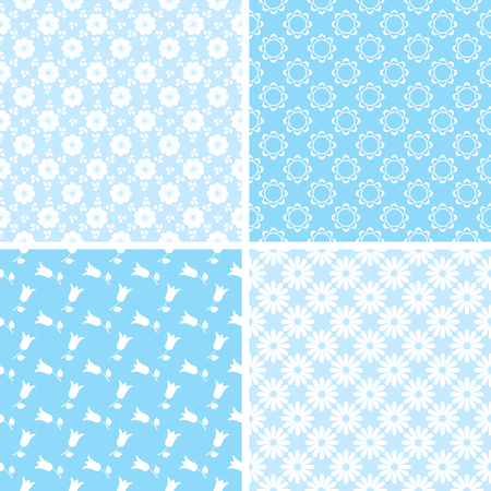 Vector set of seamless floral patterns for scrapbooking in blue and white colors. Illustration