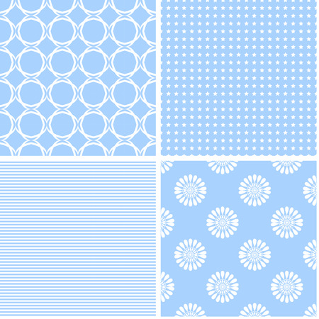 Pastel retro different vector seamless patterns. Set of cute shabby chic ornaments.