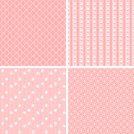 Set of four retro seamless patterns with striped Vectores