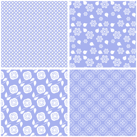 Set of 4 cute seamless patterns. Vector backgrounds.