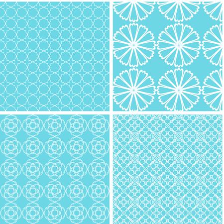 Vintage different vector seamless patterns. Set of mint geometric ornament. Illustration