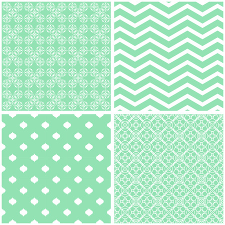 Seamless backgrounds Collection in green pale tones Illustration