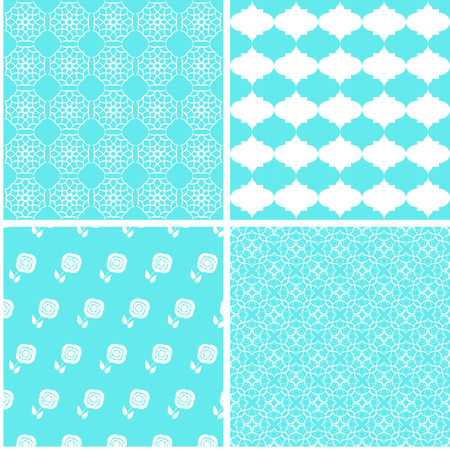 Pastel retro different vector seamless patterns. Vector ornaments. Illustration