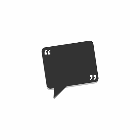 Speech rectangle bubble icon. Black chat icon on white background. Comic, talk. Vector