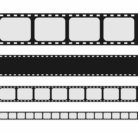 Film strip collection. Set of blank movie strip template. Vector