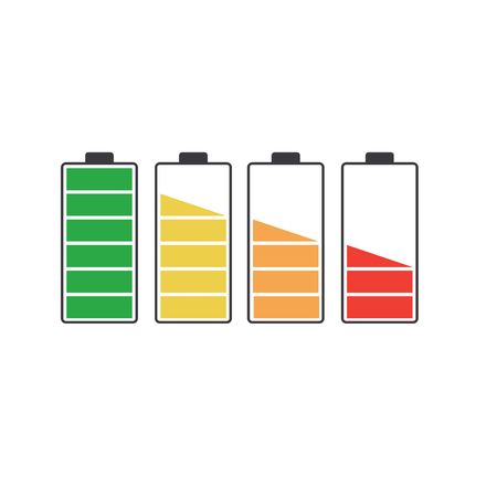 Battery icon set with charge level isolated on white background. Vector Vectores